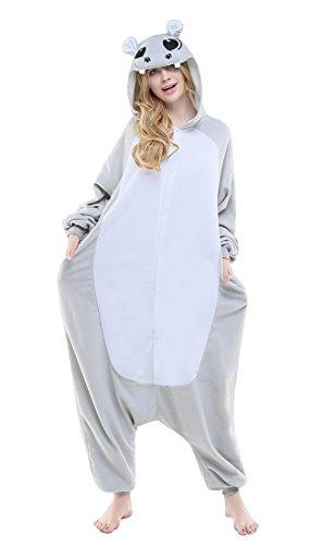 URVIP Jumpsuit Tier Cartoon Fasching Halloween Kostüm Sleepsuit Cosplay Fleece-Overall Pyjama Erwachsene Unisex Schlafanzug Tier Onesie mit Kapuze Grau Nilpferd ()