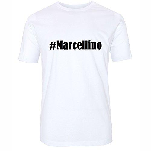 T-Shirt #Marcellino Hashtag Raute für Damen Herren und Kinder ... in den Farben Schwarz und Weiss Weiß
