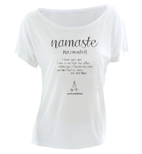 Natural Born Yogi Damen Yoga Shirt Namaste Love Weiß, S - Ärmel Frauen Yoga Kleidung