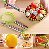 Getko 3pcs /Stainless Steel Ball Three Piece Set Fruit Digging Multi-functional Dig Watermelon Ball Spoon / Carved Knives / Peeler