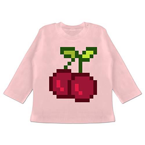 Karneval und Fasching Baby - Pixel Kirsche - Karneval Kostüm - 6-12 Monate - Babyrosa - BZ11 - Baby T-Shirt Langarm