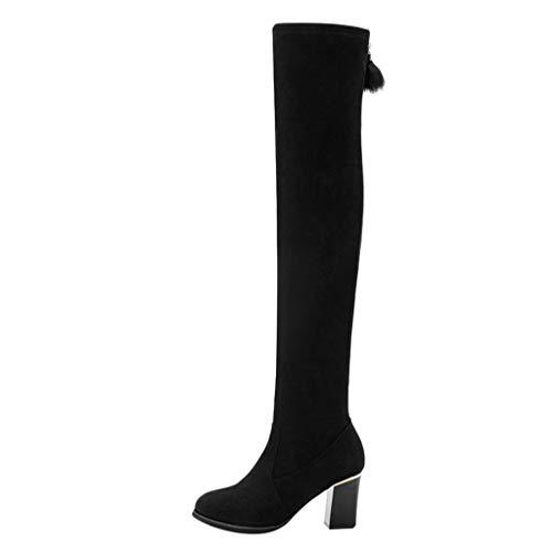 Deloito Damen Knie Stiefel Seitlicher Reißverschluss Schuhe Freizeit Platz Heel Wildleder High Boots Lange Röhre Stiefeletten (Schwarz,38 EU) (Wildleder Keil-knie-boot)