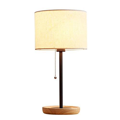Lampe de bureau simple en bois solide de lampe de chevet de lampe avec l'éclairage d'ombre de tissu pour la chambre à coucher, le salon, le dortoir, le café, la bibliothèque (Color : White)