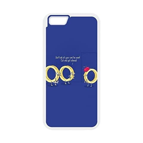 iphone6 iphone6s Case,Cartoon golden ring pattern blue Fashion Trend Durable Hard Plastic Scratch-Proof Protective Case,White