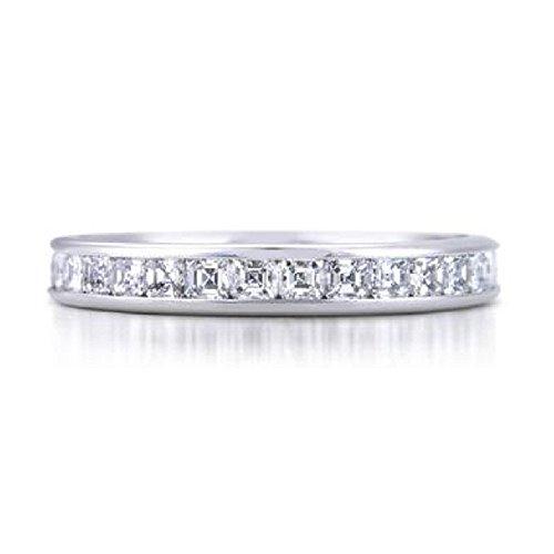 Ascher 0,50 carati, con mezzo giro di diamanti incastonati a canale, in platino, Platino, 20, (Diamante Dei Canali Band Ring)