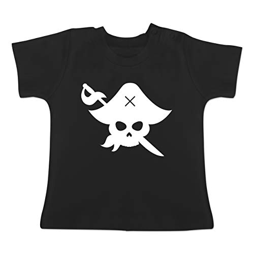 Karneval und Fasching Baby - Pirat Kostüm Fasching - 3-6 Monate - Schwarz - BZ02 - Baby T-Shirt Kurzarm