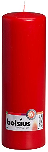 BOLSIUS RED PILLAR CANDLE - 250x80mm by Bolsius Rauch-glas-esstisch