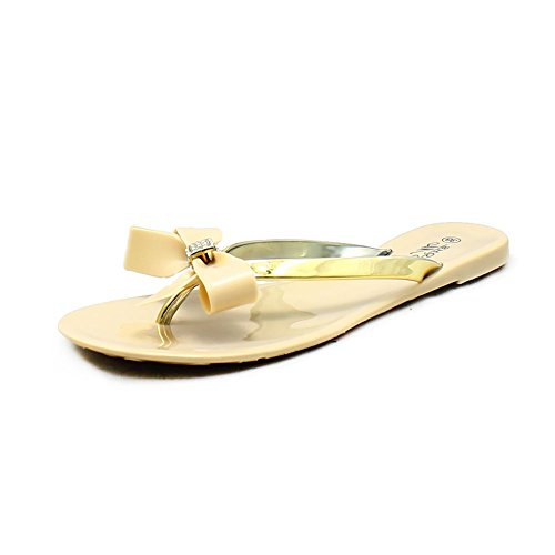 Ladies Jelly Sandals / Tongs avec diamante Bow Nude