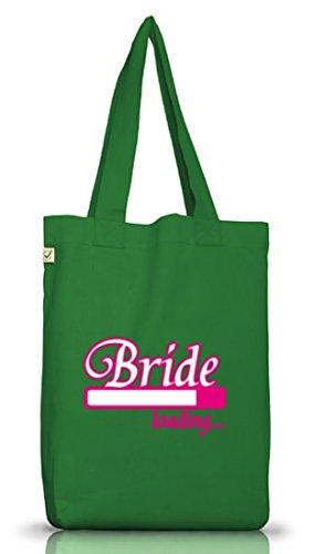 Shirtstreet24, BRIDE LOADING..., Junggesellenabschied JGA Jutebeutel Stoff Tasche Earth Positive Moss Green