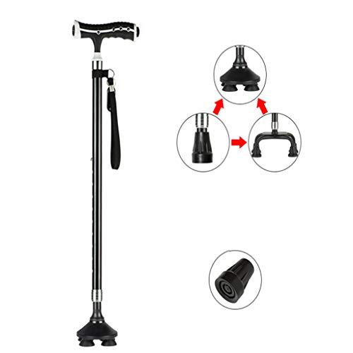 HETAO Ältere Krücken Mit Leichtem Gehstock Vier Fuß Rutschfeste Rohr-Teleskop-Verstellbare Walking Älteren Taschenlampe Walking Stick