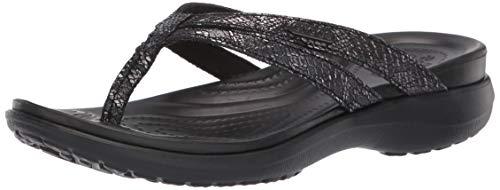 crocs Damen Capri Strappy Flip W Dusch- & Badeschuhe, Schwarz Black 060b, 42/43 EU