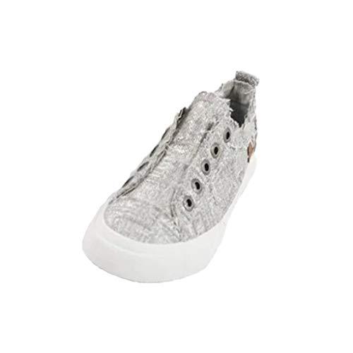 Alaso - Sneakers basse da donna, senza lacci, scarpe piatte, primavera/estate, casual, sportive, tennis, retrò. grigio 38