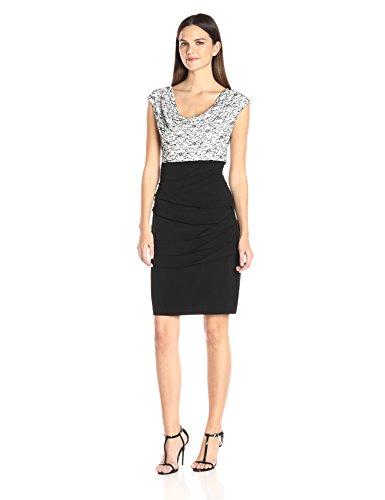 Drape Jersey Dress (Connected Apparel Damen Einteiler Spitze Drape-Ausschnitt Miederteil mit gedrehtem Jersey - Weiß - 42)