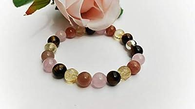 bracelet oeil de tigre, bracelet citrine, bracelet quartz rose, bracelet pierre de soleil, bracelet confiance en soi, bracelet mala, bracelet reiki