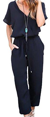 erdbeerloft - Damen schicker Jumpsuit, Hosenanzug, kurzarm, 36, Schwarz (Frauen Leggings Versandkostenfrei)