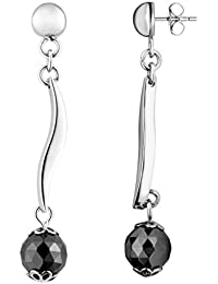 Ceranity - 904-024.N - Boucles d'Oreilles Pendantes Femme - Boules - Acier inoxydable - Céramique - Noir