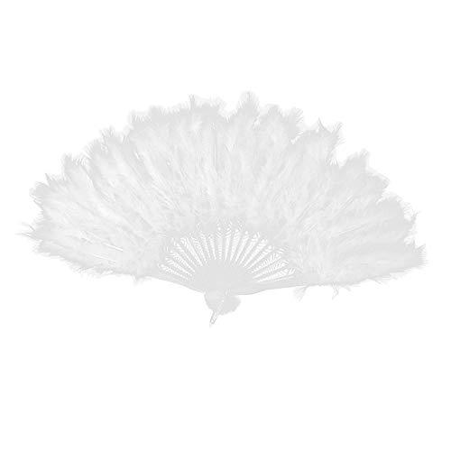 Burlesque Kostüm Dance Fan - Myhonour Feder Fan große Feder Hand Fan, Folding Hand Fans für Kostüm Hochzeit Party gefallen Kirche Geschenk Tanz Dance weiß)