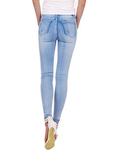 Fraternel Damen Jeans Hose high Waist Skinny destroyed Hellblau