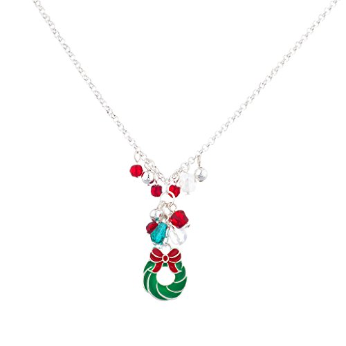 LUX Zubehör Silvertone Weihnachten Urlaub Kranz Cluster Anhänger Halskette (Billig Weihnachts Outfits Für Erwachsene)