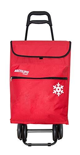 Bastilipo 7081 Julia Carro de la Compra de 4 50 litros con Bolsa térmica y Ruedas Plegables-Rojo, Normal