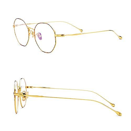 Retro runde ultraleichte klare Brille, Brillengestell für Damen/Herren. Brille (Farbe : Leopard/Gold)