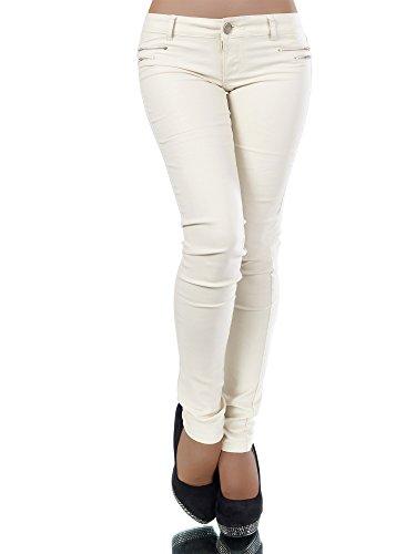 L521 Damen Jeans Hose Hüfthose Damenjeans Hüftjeans Röhrenjeans Leder-Optik,  Farben Cream  2a23e50c7c
