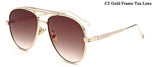 WDDYYBF Sonnenbrillen, Piloten Sonnenbrille Männer Reflektierende Gespiegelt Aviation Sonnenbrille Männlich DREI Strahlen Schattierungen Brillen Uv400 Farbverlauf Tee Objektiv