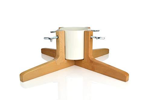 Tree Nest Design Christbaumständer Rustic Christmas - Baumhöhe bis 2,20m, Stammdurchmesser 9,5cm, Wasserbehälter für 1,2l Wasser, weiß, Holz und Metall