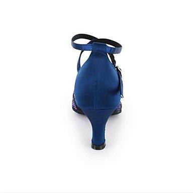 Scarpe da ballo-Personalizzabile-Da donna-Balli latino-americani / Moderno / Salsa-Tacco su misura-Finta pelle-Nero / Blu / Verde / Rosso Blue