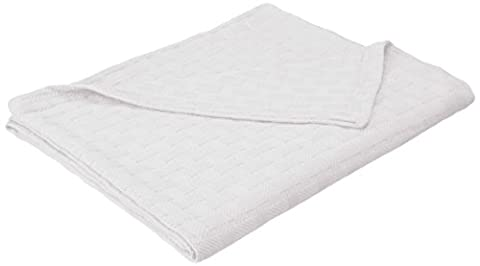 Superior 100% Cotton Thermal Blanket, Soft and Breathable Cotton for All Seasons, Bed Blanket and Oversized Throw Blanket with Luxurious Basket Weave Pattern - Full/Queen Size, White