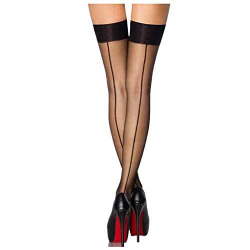 Dorical Damen Sexy Strümpfe, Frauen Halterlose Strumpfhosen, Dessous Strapse Strümpfe Slips Strings Unterwäsche Panties Reizwäsche Tangas Promo (One Size, Z004-Schwarz)