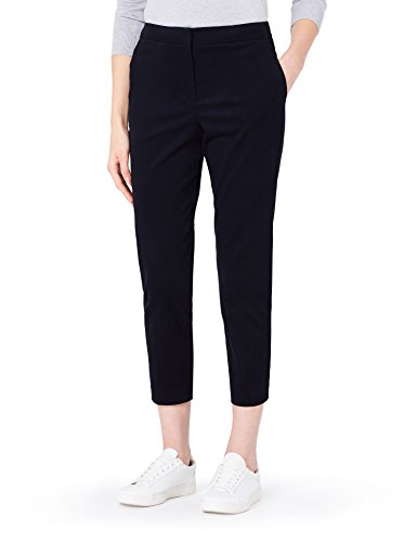 MERAKI Gerade geschnittene Cropped Hose Damen, Schwarz, 42 (Herstellergröße: X-Large)