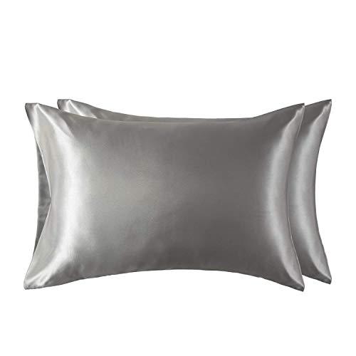 Bedsure Funda Almohada 50x75cm de Satén Pelo Rizado Gris 2 Piezas - Muy Liso Suave de 100% Microfibra...
