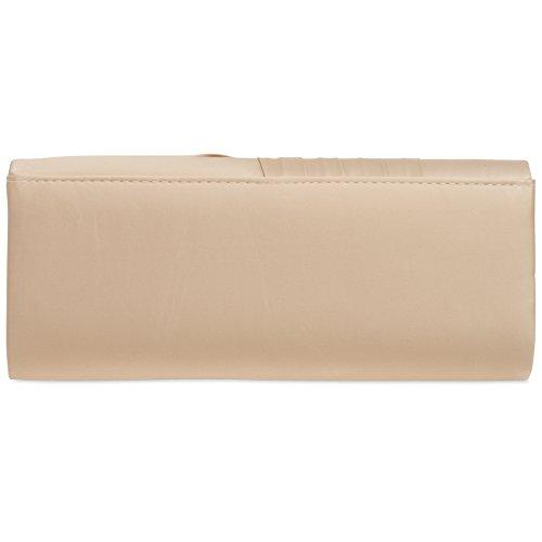CASPAR TA367 elegante Damen Satin Clutch Tasche Abendtasche mit gerafftem Überschlag Nude