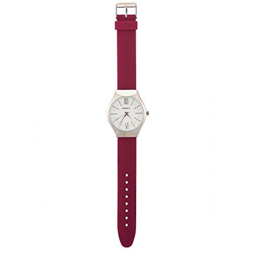 Montres pour des femmes, cadran rond de montre à quartz d'affichage analogue de mouvement de quartz de silicone(Silver Dial Purple Red Strap)