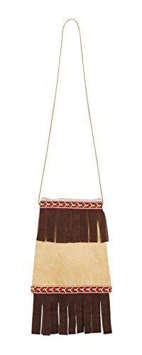 Mädchen Indianer Weiße Kostüm (erdbeerclown- Indianer Tasche Leder Fransen Perlen Kostüm,)