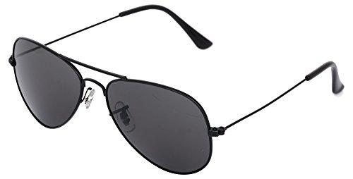 ADDON UV protected black aviator unisex sunglasses- (aviator black black 3025   50   black Lens)
