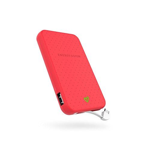Energy Sistem Extra Battery 5000 - Batería externa de carga rápida para tus dispositivos móviles (5000 mAh, cable integrado, indicador LED) color rojo