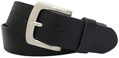 Gürtel Braun Echt Leder (Vollrindledergürtel - Ledergürtel 4cm breit in schwarz, braun, blau - Herrengürtel - Damengürtel - Jeansgürtel - Leder Gürtel - weiches Leder - 100% Echt-Leder, Schwarz, Gr. 80 cm Bundweite = 95 cm Gesamtlänge)