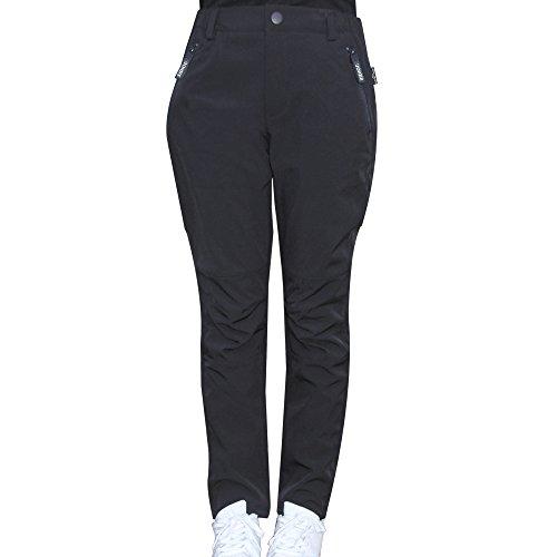 Sidiou Group Dicke und wasserdichte Ski Damenhosen von Fleece-Futter Soft-shell Durchlässigkeit 100% Polyester solide Hosen für Open-Air- Winterwandern, Ski und Camping (XL, Schwarz) (Pant Air Fleece)