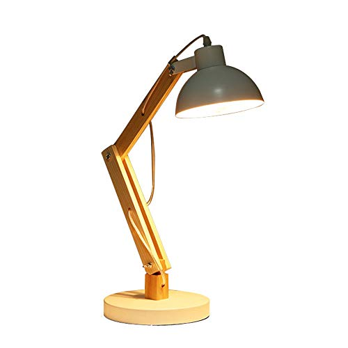 Hölzerne Multi-Winkel-Schwenkarm Designer-Lampe Tisch-Bett-Nachttisch Lesen Studie Arbeit Hell-Grau Schwarz,White (Hölzerne Lampe)