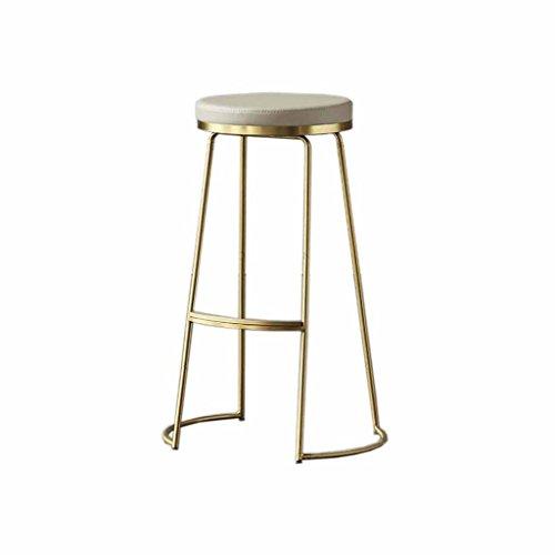 Bar Counter Hocker Küche Pub Frühstück Stuhl Einfache Moderne Metall Hochstühle Rezeption Hocker Eisen Kunst Gold Last 100Kg (Sitzhöhe 65 cm, 75 cm) (Größe : 65cm) (Gold Frühstück Kissen)