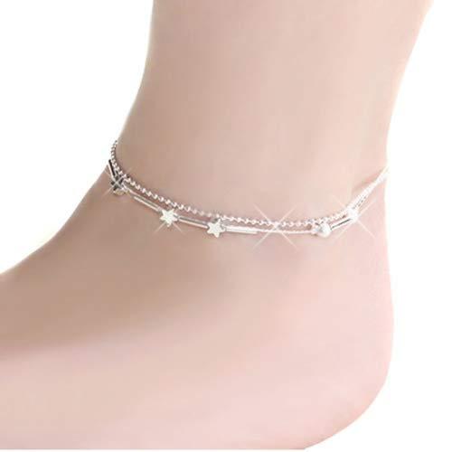 b39e19160b06 Little Star doble cadena de tobillo tobillera Pulsera descalzo Sandalia playa  pie joyería para las mujeres