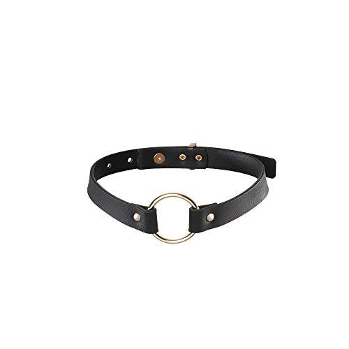 Bijoux Indiscrets MAZE - schmales Halsband mit Ring schwarz aus veganem Leder - BDSM bondage sexy