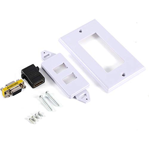Hakeeta Multifunktionaler 2-Fach-Wandstecker mit 1 HDMI-Anschlussbuchse + 1 VGA-Anschlussbuchse AV-Wandsteckdose Videobuchse Weiße vordere Anschlussplatte für Private oder gewerbliche Standorte Gang 4-port-wall Plate