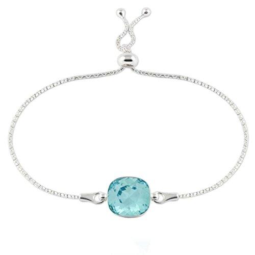 """Crystals & stones braccialetto regolabile """"square"""", in argento 925con swarovski® elements originali, splendido braccialetto da donna, con scatola per gioielli e argento, colore: turchese, cod. 7"""