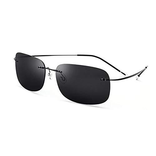 TJLY Unisex-Sonnenbrille UV-Schutz 400 Schutz ohne Schrauben Platz randlose Brille, Piloten, Reisen, Einkaufen,Gray