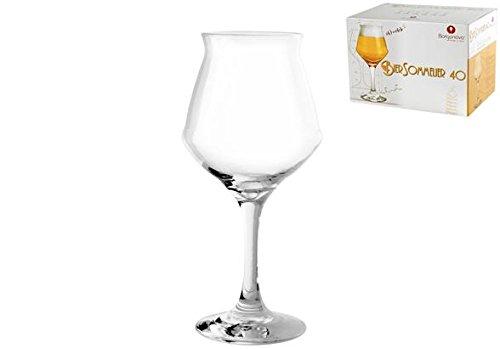 Borgonovo Lot de 6 Verres à Pied pour bière en Verre Transparent 40 cl