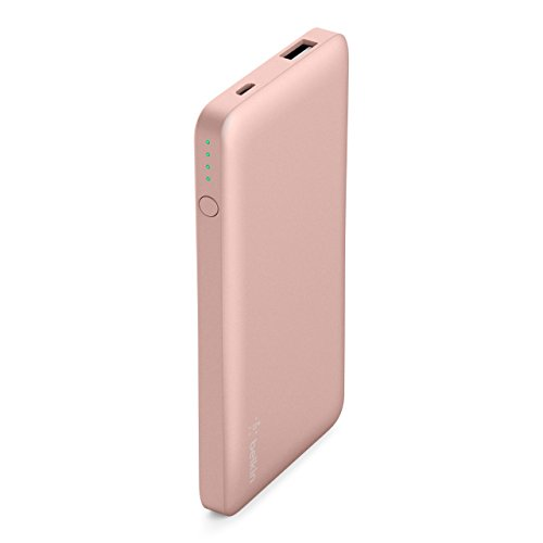 Belkin Pocket Power Bank Caricabatteria Portatile da 5000 mAh, Sicurezza Certificata, per iPhone Xs, Xs Max, Xr, X, 8, 7, 6, 5, iPad, Samsung Galaxy S9/S8/S7/Note 9, USB-A, Oro Rosa