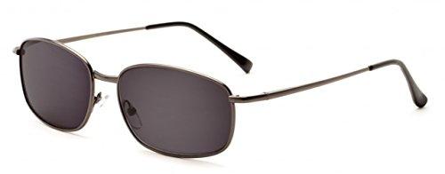 +2.00 Grau Metallische Lesebrille Sonnenbrille Federbandbügel Zeitlos Herren Designer Stil, 100% UV-Schutz Getönte Gläser, 2.00 Verschreibung